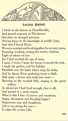 lucinda matlock Lucinda matlock by edgar lee masters i went to the dances at chandlerville and played snapout at winchester one time we changed partners driving home in the.
