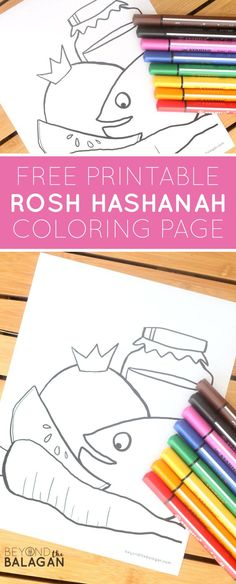 Free Rosh Hashanah Coloring Page Yom Teruah, Yom Kippur, Jewish High Holidays, Preschool Crafts, Kid Crafts, Toddler Art, World Religions, Rosh Hashanah, Judaism