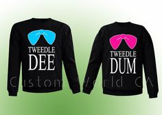 "Couple Sweatshirt Crewneck Disney "" Tweedle Dee Tweedle Dum""  - 2 Couple Matching Sweatshirts Love -  PRIORITY SHIPPING"
