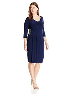 LOOK!! Alex Evenings Women's Plus-Size Side-Ruched Dress with Beaded Waist Detail