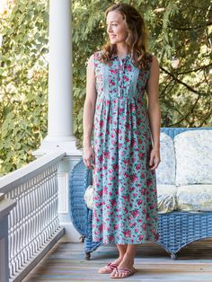 Spring into the season with a dress set to reflect all the glory inherent in the earths annual rebirth. The Spring Bouquet has it all- from the joyful floral design and adorable 'porch dress' shape to the extra details like crochet lace insets and self fabric belt. Rebirth, renewal, rejoice!