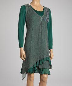 Look at this #zulilyfind! Teal Rosette Linen-Blend Layered Dress #zulilyfinds