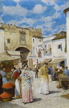 At the Market - Joaquin Turina y Areal (spanish, Spanish Painters, Spanish Artists, Most Famous Paintings, Historical Images, Traditional Paintings, Art Themes, Andalusia, Western Art, Love Art