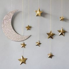 Hanging Moon and Stars Decorations by Beau-coup #weddingdecoration