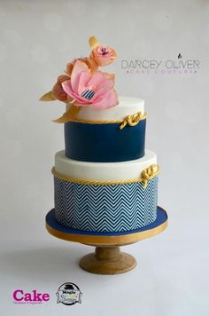 Nautical Chevron by Darcey Oliver Cake Couture