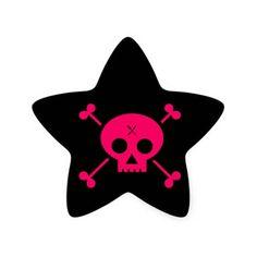 Punk Skull Star Stickers. bone ,  skull ,  punk ,  pink ,  illustration ,  vector ,  horror ,  death ,  halloween ,  skeleton ,  background ,  symbol ,  tattoo ,  dead ,  gothic ,  pattern ,  dark ,  culture ,  decoration , evil, celebration, holiday, grunge, head, swirl, human, mexican, spooky, design, flower, sugar, banner, rock, tradition, pirate, calavera, white, dirty, star stickers