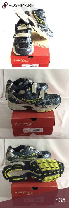 BNWT, Saucony boy's sneakers Authenticity, BNWT, you'll never have to many sneakers for boys or girls.  Navy, green with silver trim. Adorable, Price to sell 🤑🤑 Saucony Shoes Sneakers