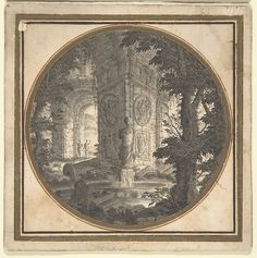 Imaginary Landscape with Classical Ruins; Fountain in Foreground