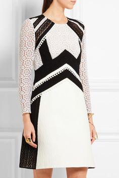 Burberry Prorsum | Lace-paneled cotton-blend cloqué dress | NET-A-PORTER.COM