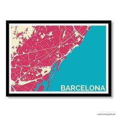 Digitaldruck - Kunstdruck Barcelona Urban Cartography - ein Designerstück von UrbanCartography bei DaWanda