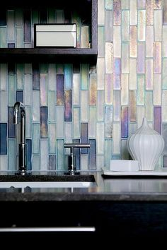 Would love this backsplash for the master bathroom. Weave: Waterblend by Walker Zanger backsplash Glass Backsplash Kitchen, Backsplash Ideas, Kitchen Tiles, Glass Tiles, Backsplash Tile, Tiling, Mosaic Tiles, Herringbone Backsplash, Cement Tiles