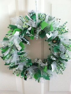 St. Patrick's Day Fabric and Ribbon Wreath by RagWreathsbyMissVal