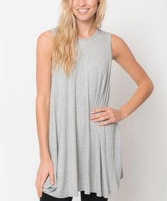 Love this Heather Gray Sleeveless Tunic by Caralase on #zulily! #zulilyfinds