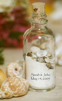 Personalized Sand & Shell Bottle - Wedding Favors | Bridal Shower Favors | Favor Idea   Love this idea!!