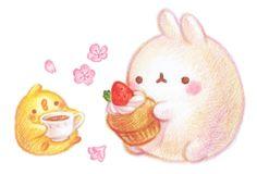 달콤한 딸기가 올라간 생크림 디저트와 차 한잔 그리고 벚꽃.분홍분홍한 추억이 하나 생기면 제대로 봄을 ...
