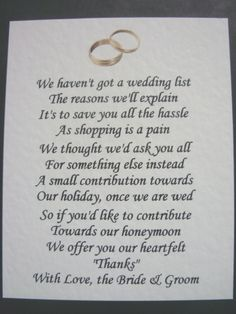 wedding poem asking for money - Google Search