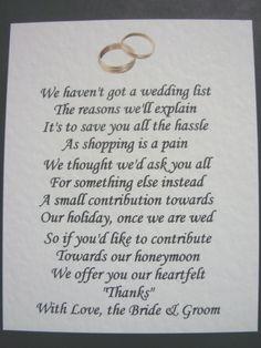 wedding poem asking for money - Google Search