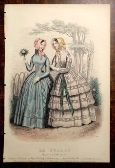 LE FOLLET 1845 Hand-Colored Fashion Plate #1267 Toilettes de Ville PRINT | eBay