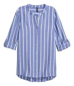 Blue/striped. Shirt in soft, woven fabric with a small stand-up collar. Buttons at front and long sleeves with roll-up tab and button. Slightly longer back