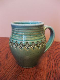 stamped ceramic mug by Gary Jackson : Fire When Ready Pottery