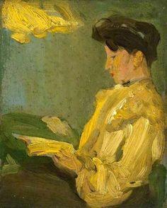 Lamplight  -   John Duncan Fergusson  1900  British 1874-1961  Oil on cardboard , 11,5 x 14 cm.