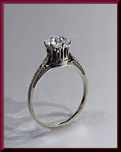 Antique Vintage Art Deco 14k White Gold Diamond Engagement Ring by AntiqueJewelryNyc on Etsy https://www.etsy.com/listing/195793964/antique-vintage-art-deco-14k-white-gold