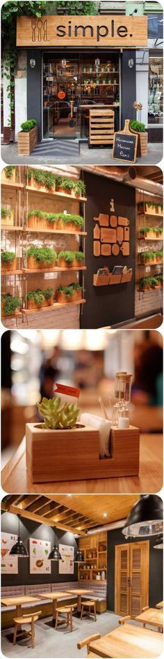 Ideia de Horta Vertical para temperos / hortaliças || Design firm Brandon Agency together with interior designer Anna Domovesova have created Simple, a casual fast-food restaurant in Kiev, Ukraine.