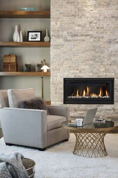 11 Cozy Photos of Fireplaces That Will Make You Want To Stay Inside All Winter -.- 11 Cozy Photos of Fireplaces That Will Make You Want To Stay Inside All Winter -… 11 Cozy Photos of Fireplaces That Will Make You Want To… - Fireplace Tv Wall, Small Fireplace, Fireplace Remodel, Living Room With Fireplace, Cozy Living Rooms, Fireplace Design, Home Living, Fireplace Ideas, Stone Wall With Fireplace