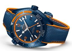 Omega Seamaster Planet Ocean Big Blue - blue and orange detail - Perpetuelle