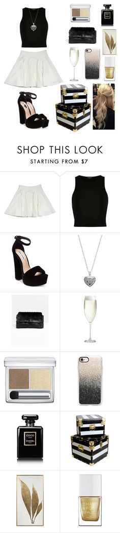 """""""black gold"""" by monocass ❤ liked on Polyvore featuring Milly, River Island, Steve Madden, Silver Expressions by LArocks, Crate and Barrel, RMK, Casetify, Chanel and The Hand & Foot Spa"""