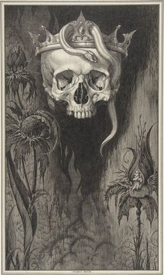 Henry Weston Keen, Skull Crowned with Snakes and Flowers (for the Duchess of Malfi and the White Devil by John Webster) c.1918-1935