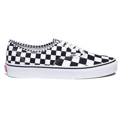 Vans 'Authentic' checkerboard canvas unisex sneakers ($60) ❤ liked on Polyvore featuring shoes, sneakers, canvas shoes, print sneakers, vans trainers, checkerboard shoes and checkered shoes