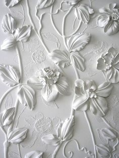 Wall art by Olefir Design. Something similar to this can be made by gluing silk flowers or paper flowers to a canvas and spray painting it white. You can also draw out designs around the flowers with glue before painting. Arts And Crafts, Diy Crafts, White Aesthetic, Shades Of White, Spray Painting, Painting Walls, Happy Weekend, Silk Flowers, White Flowers