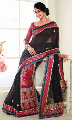 Black Designer #Georgette #Saree For More Saree Check this page now…