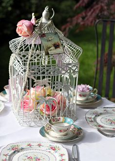 bird cage tea party table setting