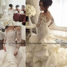 Steven Khalil 2017 Luxury Ruffles Cathedral Train Mermaid Wedding Dresses With Long Sleeves Middle East Plus Size Lace Organza Wedding Gown Mermaid Wedding Dresses With Sleeves Modest Bridal Gowns From Gaogao8899, $158.29| Dhgate.Com