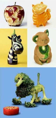 Fruit and vegetable art - globe, cat, zebra, koala, & poodle