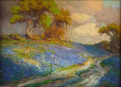 Late Afternoon dans les Bluebonnets, Texas SW, 1913 de Robert Julian Onderdonk (1882-1922, United States)