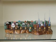 HANUKKAH MENORAH STAINED GLASS HAND MADE WITH OLIVE WOOD MADE IN ISRAEL