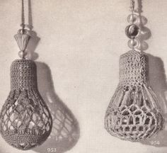 Image Detail for - Two Vintage Crochet Shade Light Fan Pulls Pattern 2