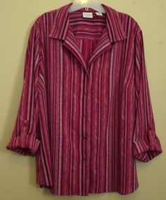 Beautiful striped purple button down. Wear to work or casual. Plus size 2x 3x 20-22w #ThePlusSide