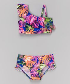 Look at this Marina West Tropical Blue Asymmetrical Bikini - Toddler & Girls on #zulily today!