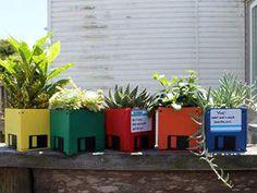 Turn old floppy disks into mini planters