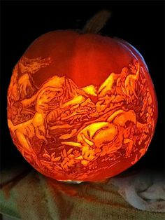 Dremel Dino Pumpkin / And Then Came the Comet, Chris T. of Tacoma, WA pumpkin carving contest winners / TOH)