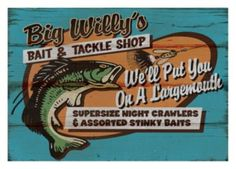 bait and tackle wood sign fishing sporting goods antique looking, Soft Baits