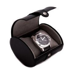 $55.00 Bey-Berk Black Leather Single Watch Travel Case Black Leather Single Watch Travel Case with Snap Closure.