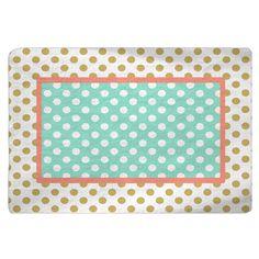 Gold-White-Coral-Mint Polka Dots Nursery Fuzzy Area by redbeauty