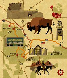 South Dakota Map. © Dieter Braun illustration