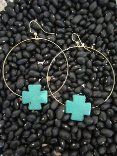 #turquoise #cross #earrings #jewelry #accessories Cross Earrings, Diy Earrings, Cross Love, Crosses, Jewlery, Jewelry Accessories, Fashion Jewelry, Jewelry Making, Turquoise