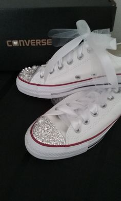 Who says you can't have both beauty and comfort on your special day! These custom Converse wedding sneakers feature sparkling Swarovski crystal, pearls and small brooches. Made-to-order. Turn around time 2-3 weeks. Prices range $199-$239 plus shipping. Please email me for more information. http://www.sparklecreationsbytyyon@gmail.com